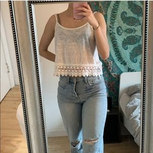 Forever 21 Lace Crochet Macrame Crop Top SMALL